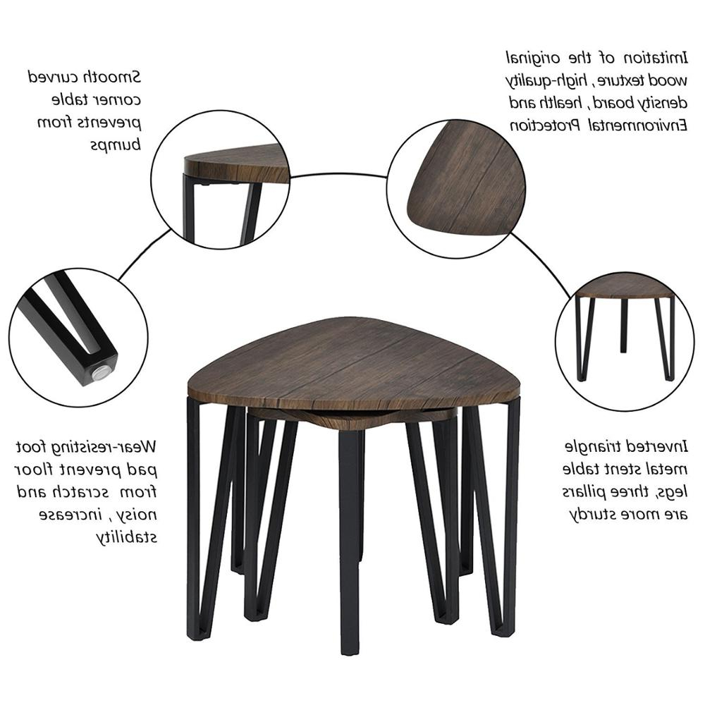 Most Up To Date Inverted Triangle Coffee Tables In Aingoo Coffee Table Set Of 3 End Side Table Stacking Tea Table Brown (View 10 of 20)