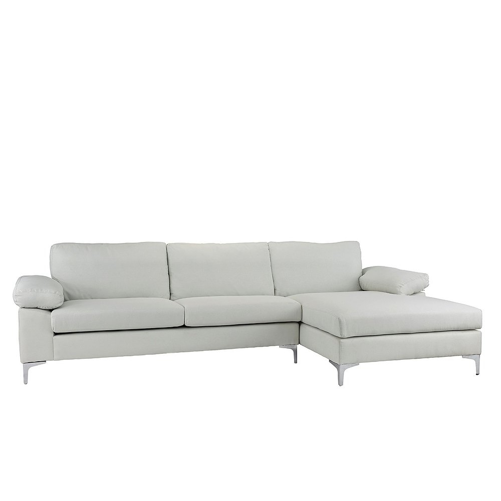 Most Up To Date Kristen Silver Grey 6 Piece Power Reclining Sectionals Inside Shop Modern Large Linen Sectional Sofa, L Shape Couch, Wide Chaise (View 16 of 20)