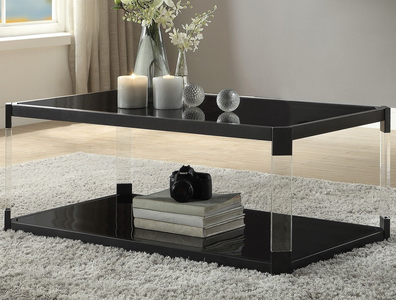 Most Up To Date Mehta Black Glass Cocktail Table From Homelegance (Gallery 20 of 20)