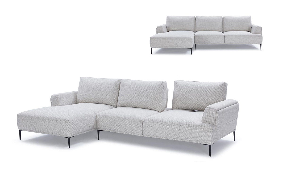 Most Up To Date Norfolk Grey 3 Piece Sectionals With Laf Chaise For Divani Casa Hero Modern Grey Fabric Sectional Sofa W/ Right Facing (View 13 of 20)