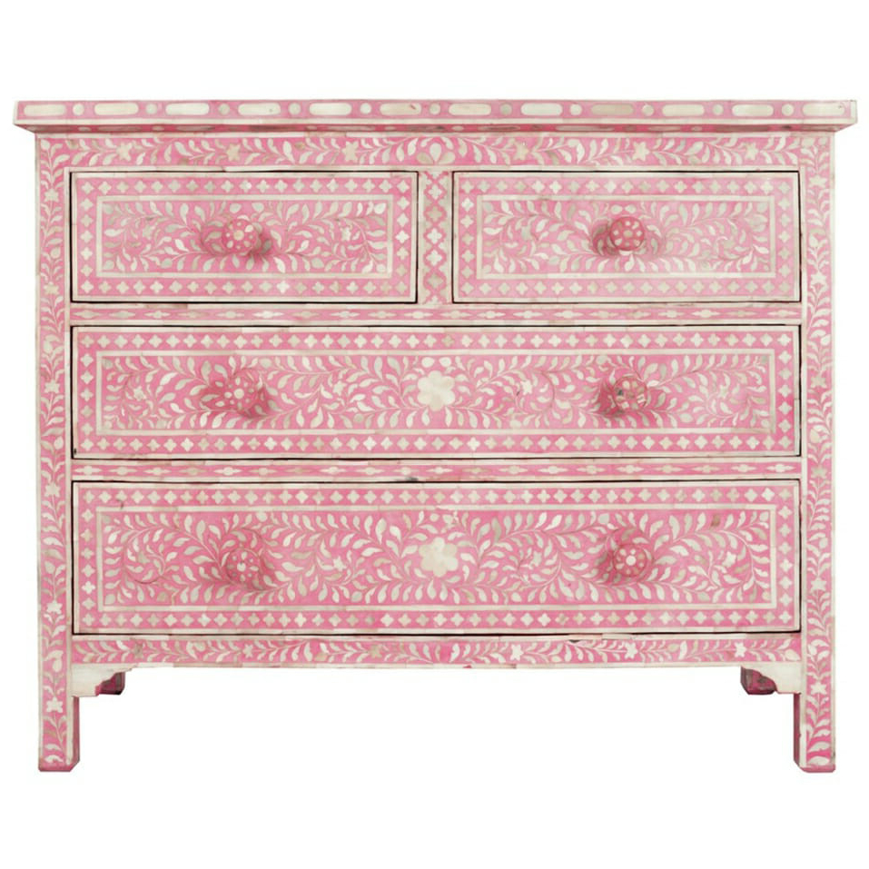 Most Up To Date Pink Bone Inlay Chest Of Drawers (Gallery 12 of 20)