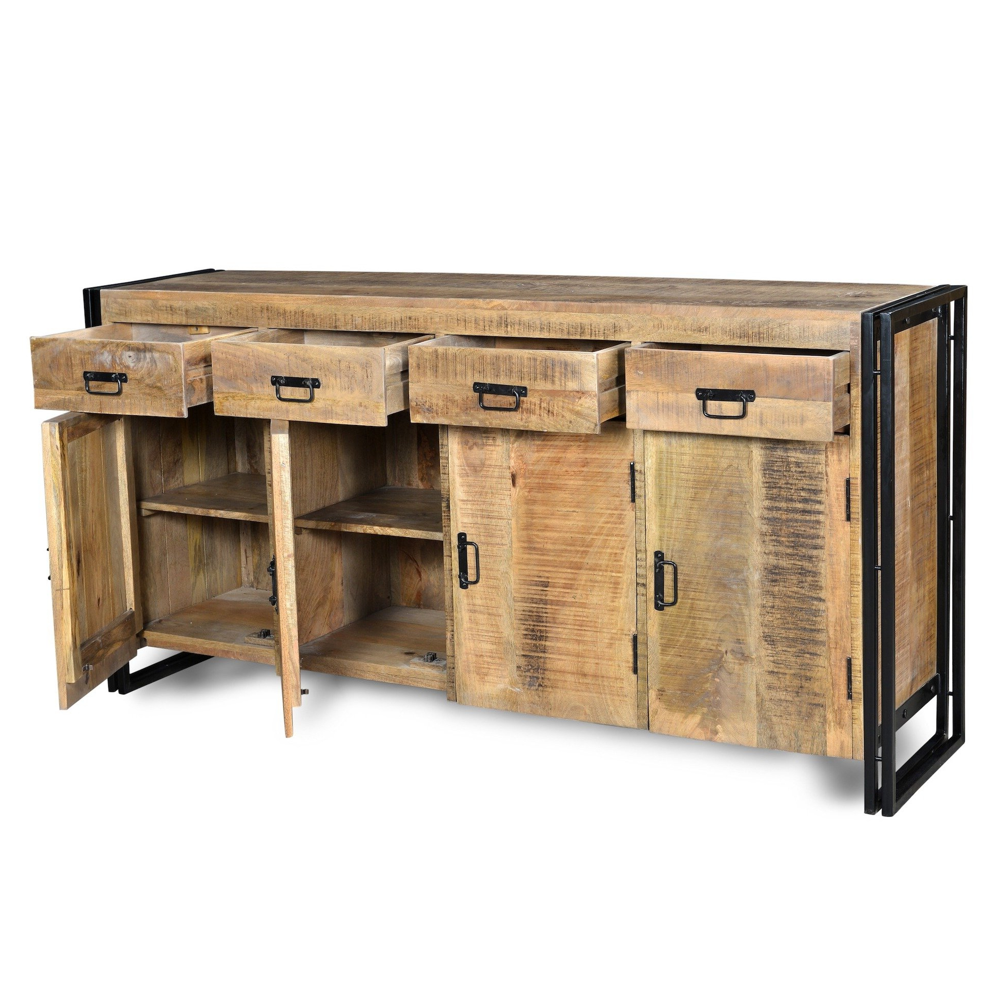 Most Up To Date Reclaimed Elm 71 Inch Sideboards Within Shop Handmade Industrial Reclaimed Wood And Iron Sideboard (india (View 9 of 20)