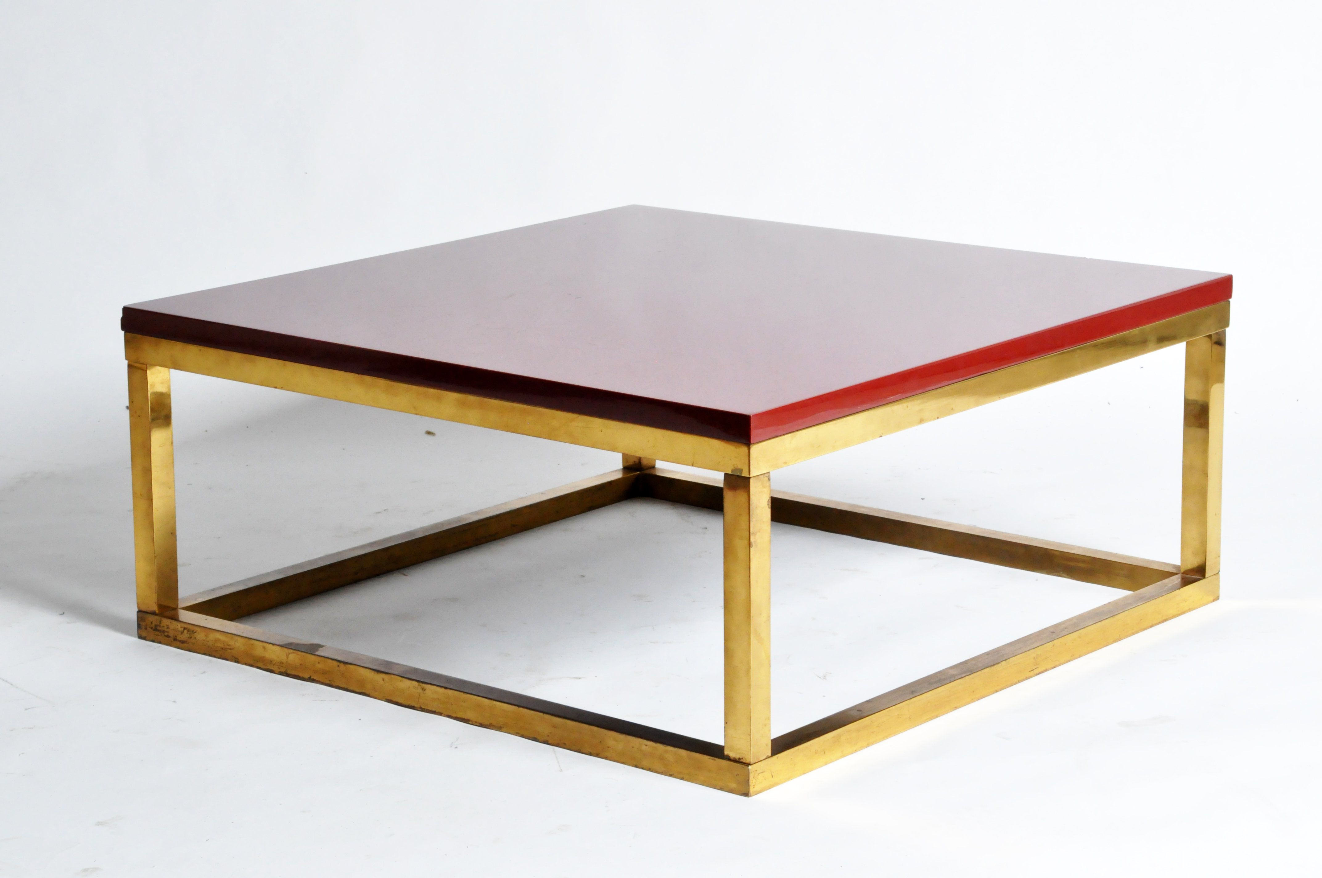 Most Up To Date Red Lacquer And Brass Cube Low Tables In The Style Of Kai Intended For Brass Iron Cube Tables (View 12 of 20)