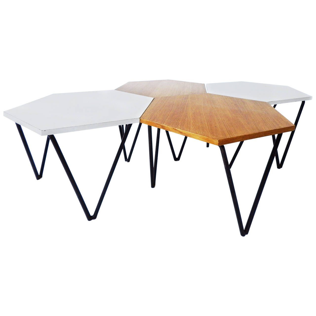 Most Up To Date Set Of 4 Gio Ponti Laminated And Wood Modular Coffee Tables For Isa For Modular Coffee Tables (View 12 of 20)