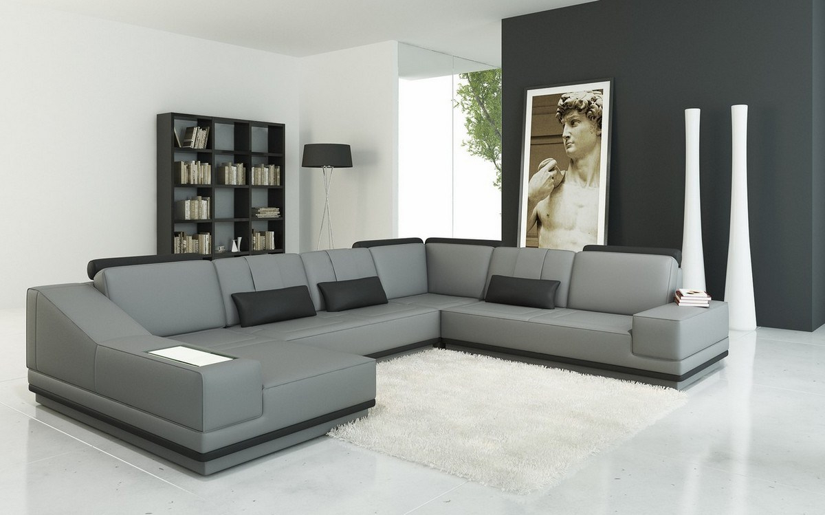 Most Up To Date Smart Divani Casa Grey Black Lear Sectional Sofa Grey Lear Sectional Regarding Tenny Dark Grey 2 Piece Right Facing Chaise Sectionals With 2 Headrest (View 11 of 20)
