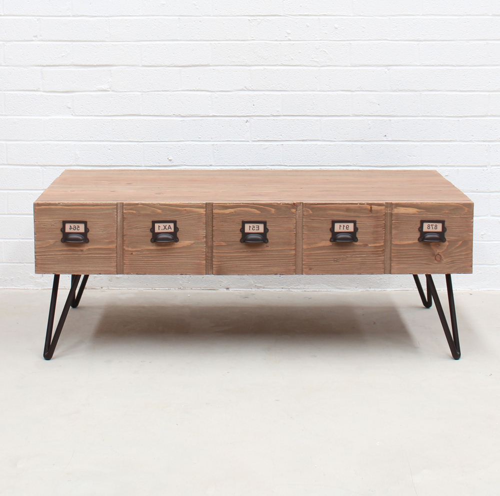 Natural 2 Drawer Shutter Coffee Tables With Well Known Industrial Coffee Table With Pigeon Hole Drawers (View 14 of 20)