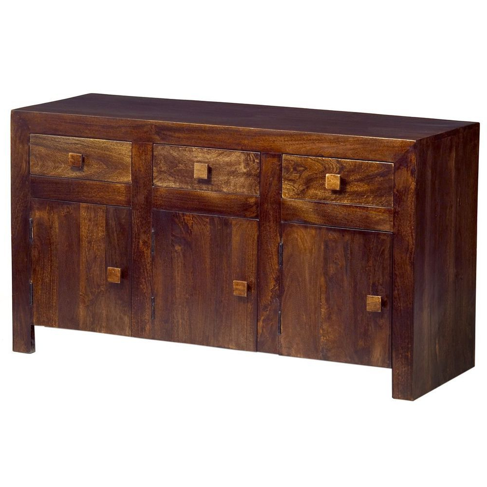 Natural Mango Wood Finish Sideboards Within Newest Details About 3 Door 2 Drawer Sideboard Storage Walnut Finish Mango (View 14 of 20)