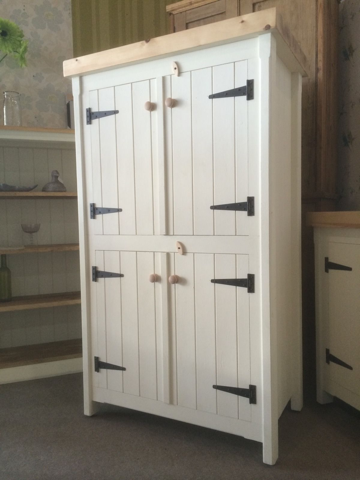 Natural South Pine Sideboards In Popular Rustic Wooden Pine Freestanding Kitchen Handmade Cupboard Unit (View 10 of 20)