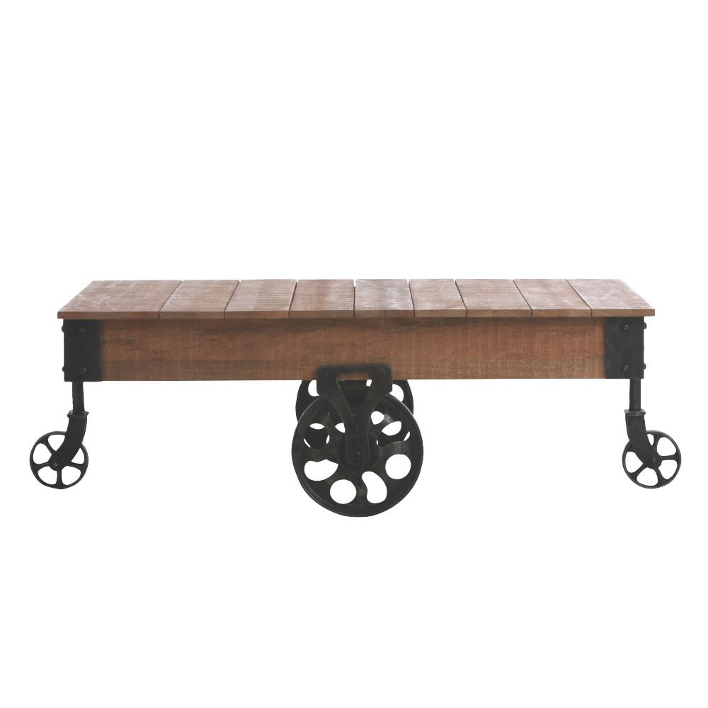 Natural Wheel Coffee Tables With Regard To Favorite Home Decorators Collection Holden Distressed Natural Mobile Coffee (View 12 of 20)