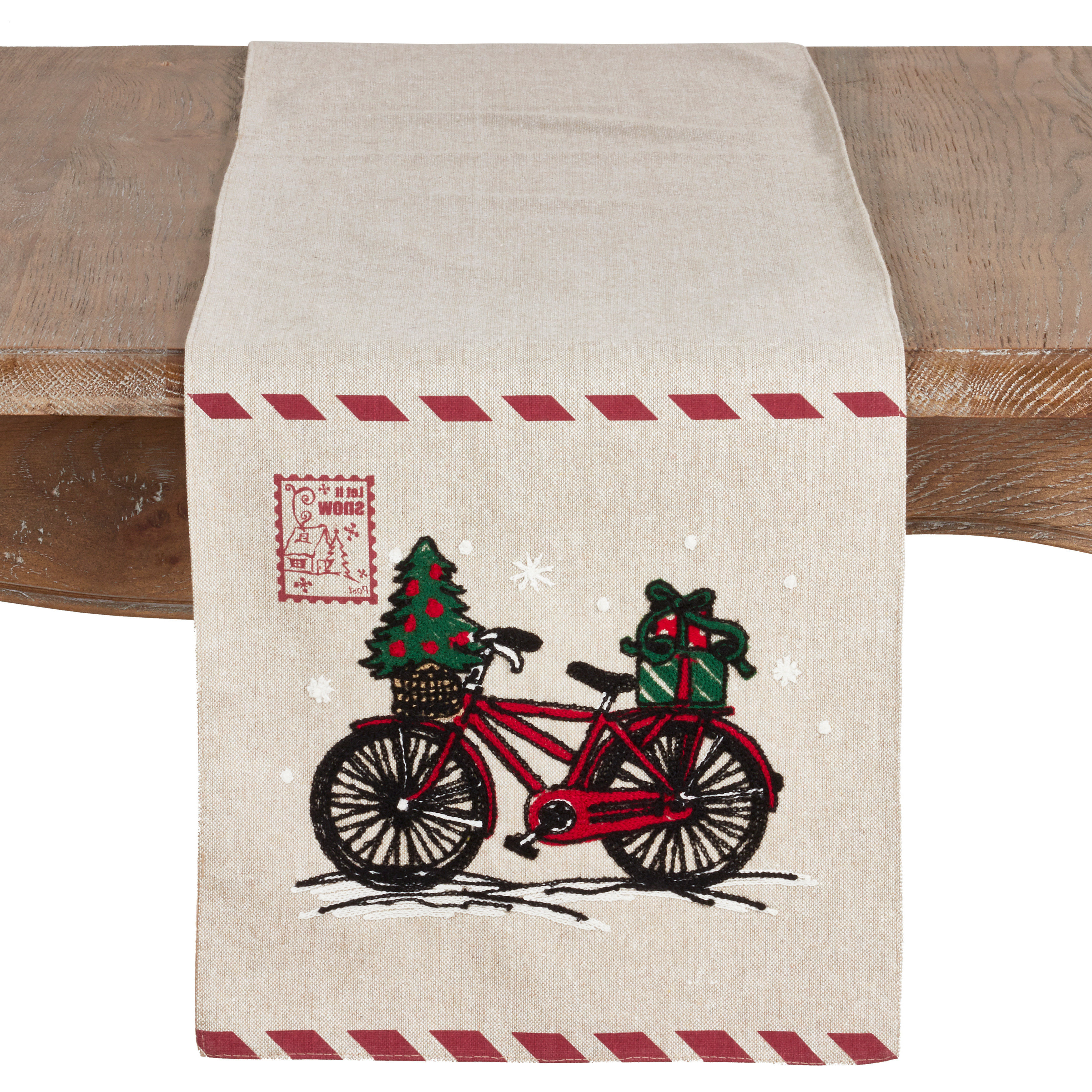 Naveen Coffee Tables Regarding Famous The Holiday Aisle Naveen Bicycle And Stamp Holiday Table Runner (View 12 of 20)