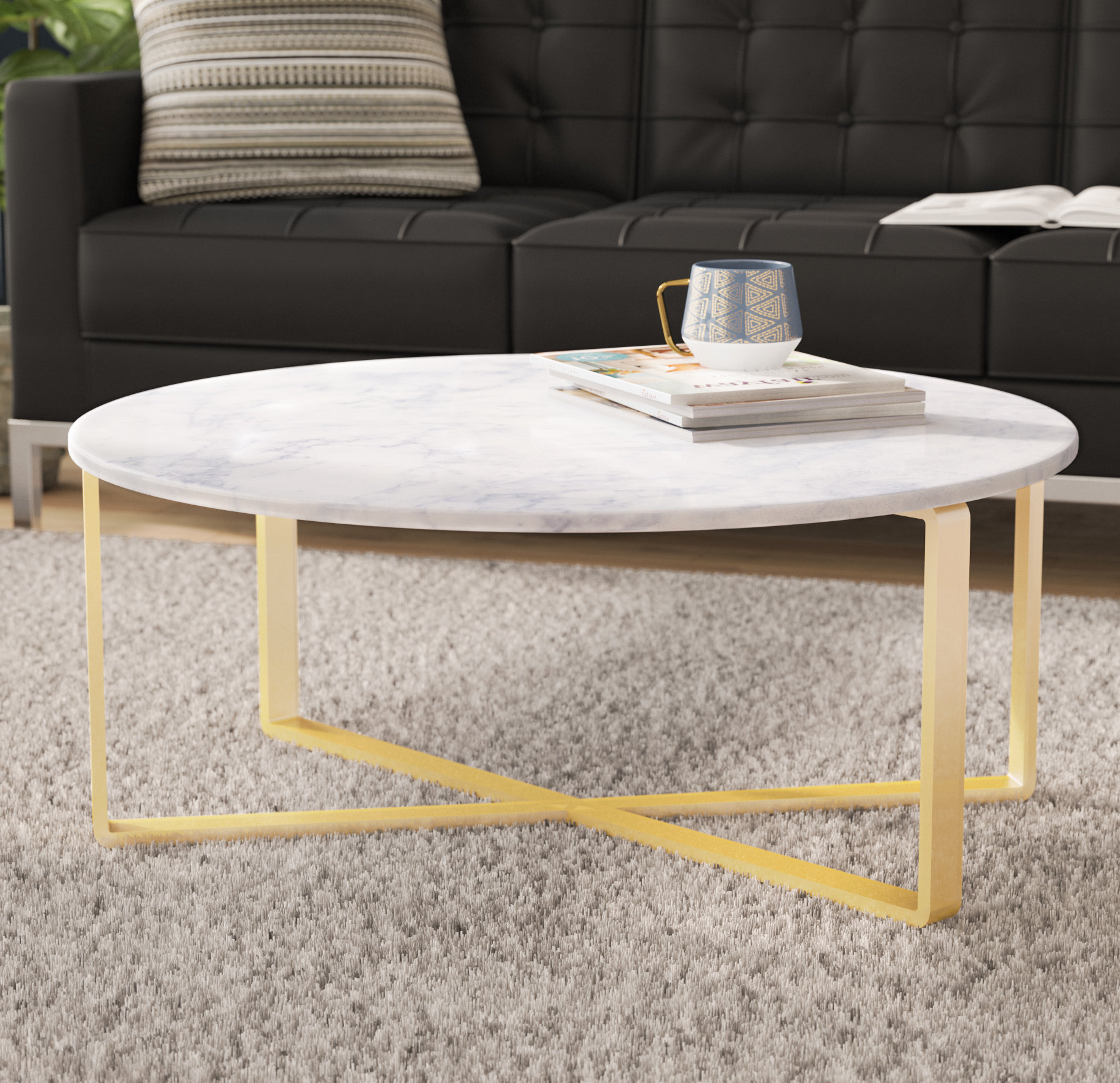 Newest 2 Tone Grey And White Marble Coffee Tables Throughout Orren Ellis Orian Marble Coffee Table & Reviews (View 7 of 20)