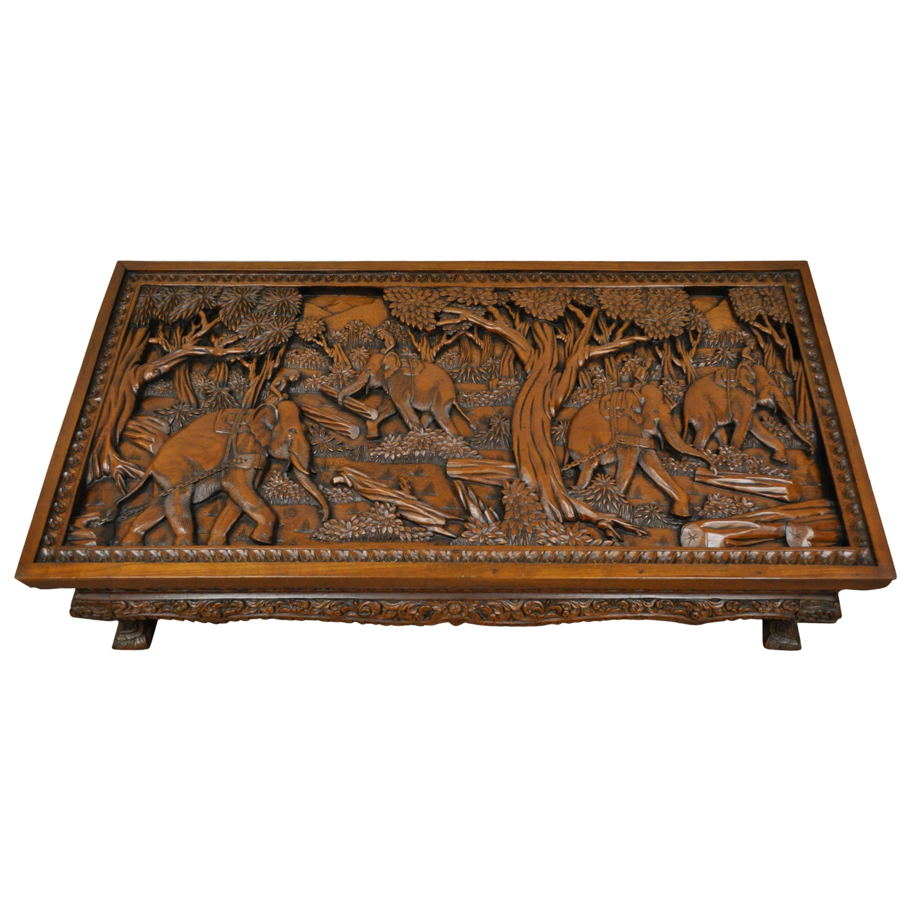 Newest 20th Century Vietnamese Hand Carved Asian Coffee Low Table With Pertaining To Round Carved Wood Coffee Tables (View 15 of 20)