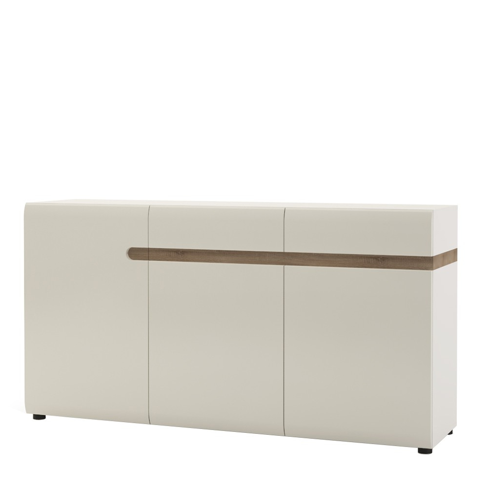 Newest Bonsoni Copenhagen 2 Drawer 3 Door Sideboard In White Gloss With Oak Regarding 2 Drawer Sideboards (View 13 of 20)