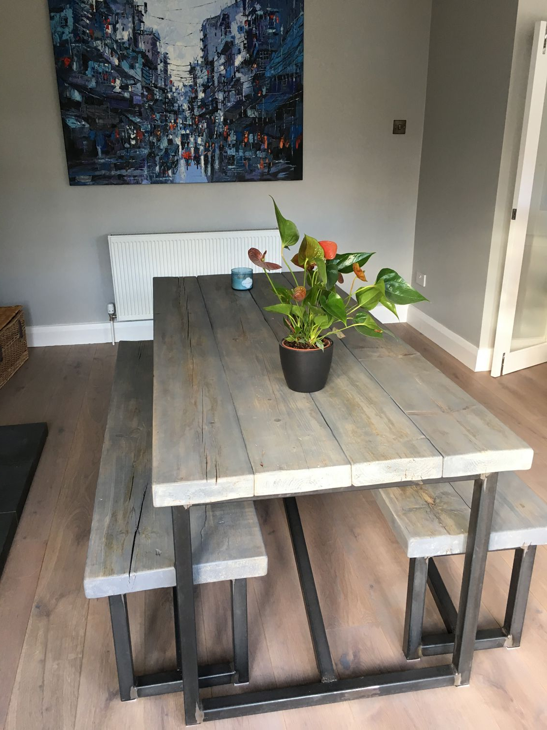 Newest Corrugated White Wash Barbox Coffee Tables Inside Industrial Style Reclaimed Wood Grey Washed Dining Table And Benches (View 17 of 20)