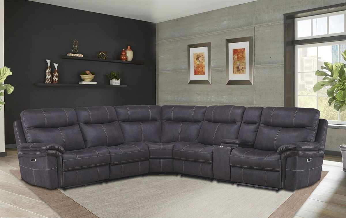 Newest Denali Charcoal Grey 6 Piece Reclining Sectionals With 2 Power Headrests In Mason 5 Pc Leather Power Reclining Sectional Sofa (View 13 of 20)