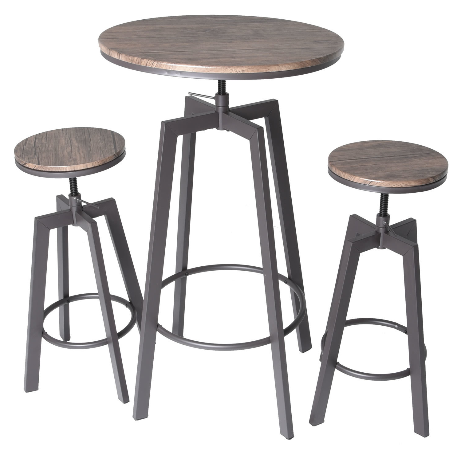 Newest Ebern Designs Hoskins Round Wood Top Metal Bar Bistro 3 Piece Throughout Potomac Adjustable Coffee Tables (View 9 of 20)