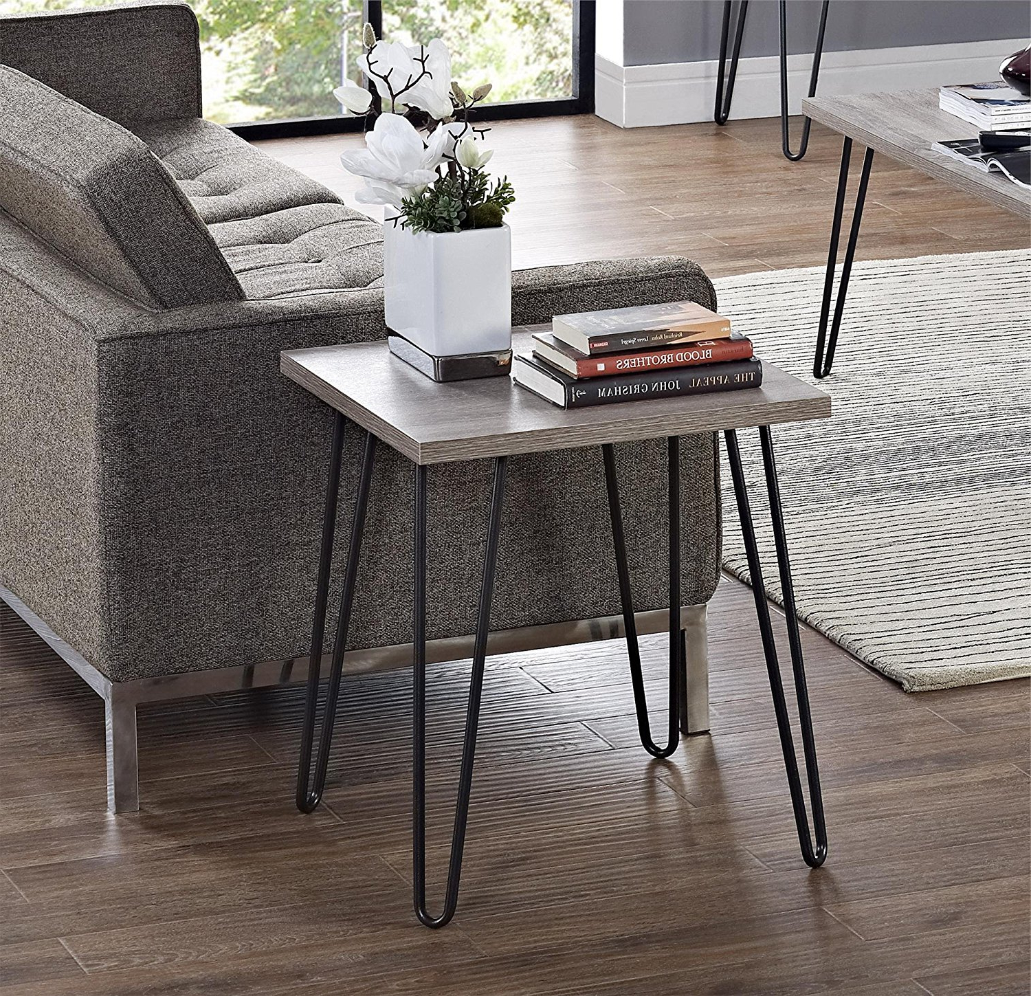 Newest Gunmetal Coffee Tables With Regard To Altra Owen Retro End Table, Sonoma Oak/gunmetal Gray – Walmart (View 18 of 20)
