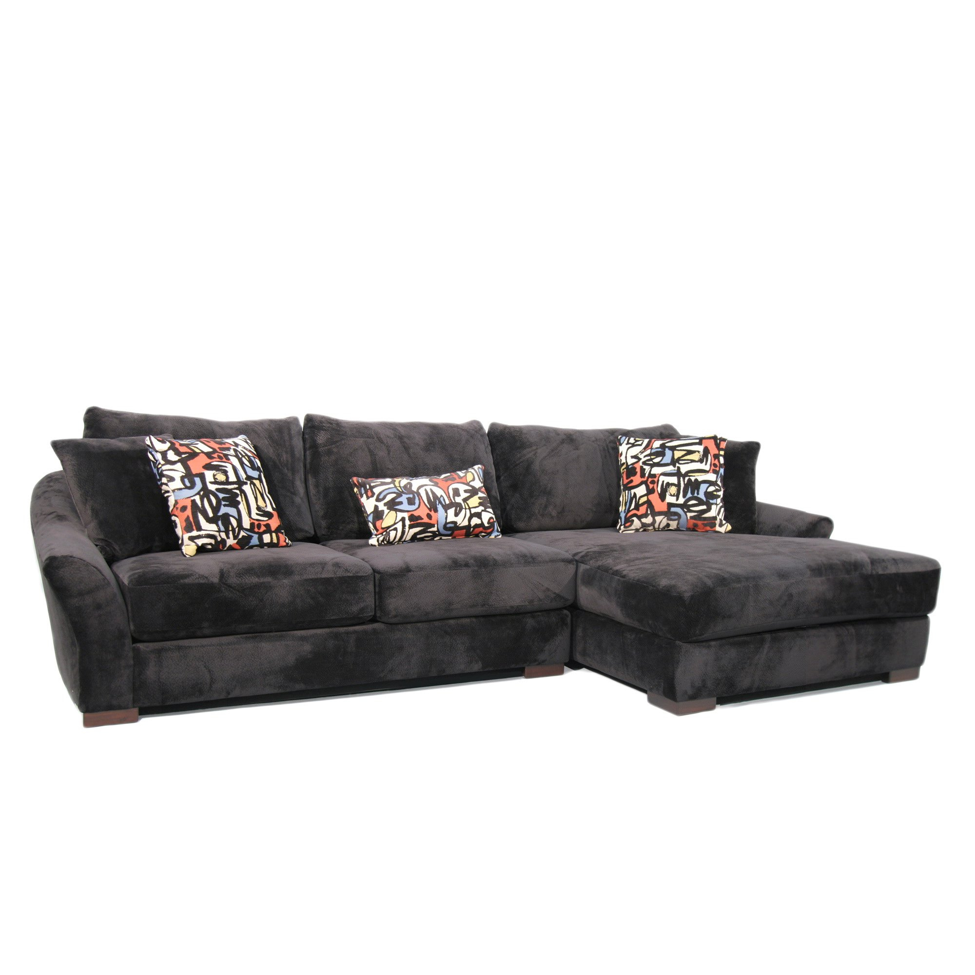 Newest Harper Foam 3 Piece Sectionals With Raf Chaise Within Shop Fairmont Designs Made To Order Audrey 3 Piece Ebony Sectional (View 14 of 20)