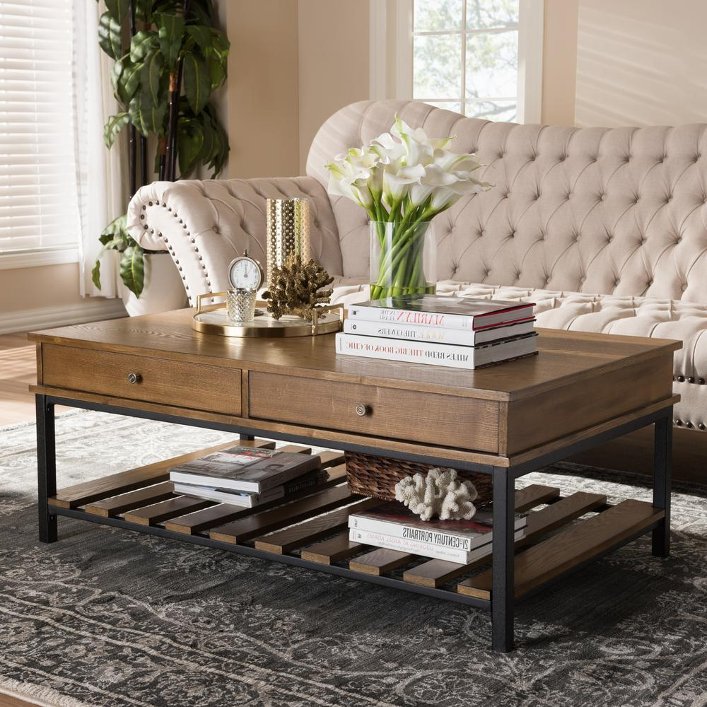 Newest Large Scale Chinese Farmhouse Coffee Tables Within Alaterre Furniture Modesto Rustic Natural Storage Coffee Table (View 8 of 20)
