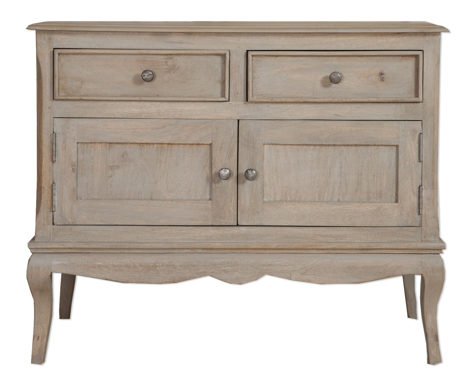 Newest Loire French Grey Solid Mango Wood 2 Door / 2 Drawer Sideboard With Mango Wood 2 Door/2 Drawer Sideboards (Gallery 3 of 20)
