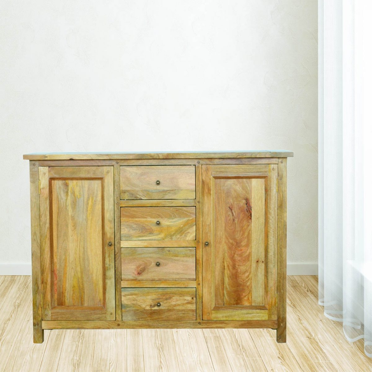 Newest Natural Mango Wood Finish Sideboards In Solid Oak Finished Mango Wood Four Drawer Two Cabinet Sideboard (View 6 of 20)