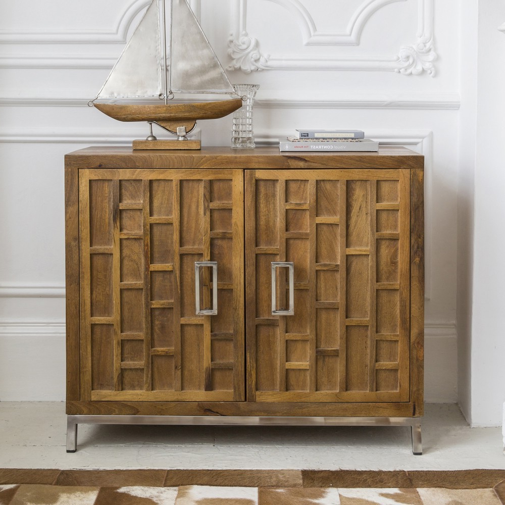 Newest Natural Mango Wood Finish Sideboards Throughout Furniture Online – 2 Door Sideboard In Mango Wood With Stain Steel Base (View 13 of 20)