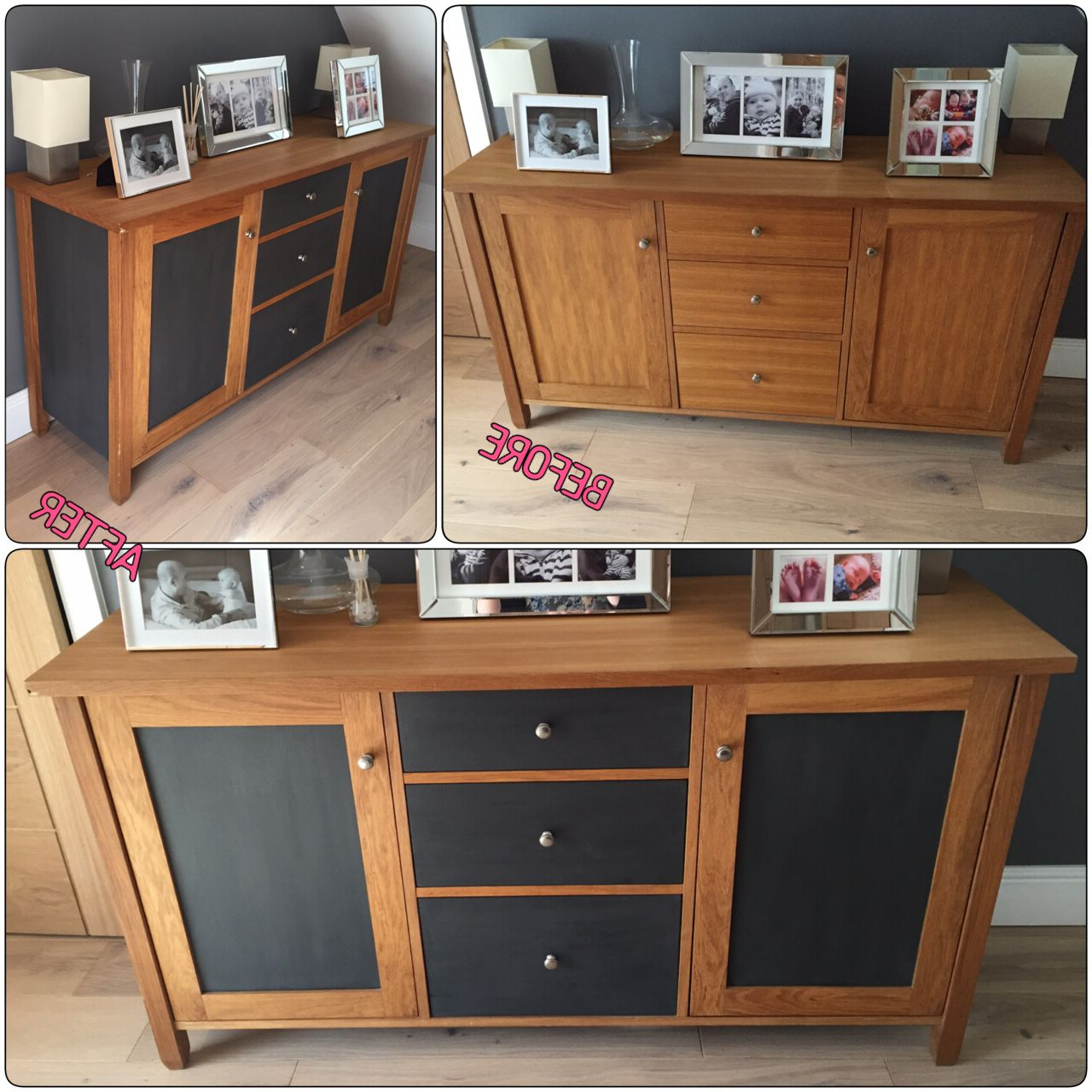 Newest Oak Sideboard Upcycle Before/after. Door Panels, Side Panels And With Satin Black & Painted White Sideboards (Gallery 18 of 20)