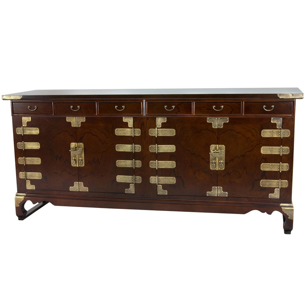 Newest Open Shelf Brass 4 Drawer Sideboards For Oriental Furniture Walnut Korean Antique Style Double Cabinet Buffet (View 13 of 20)