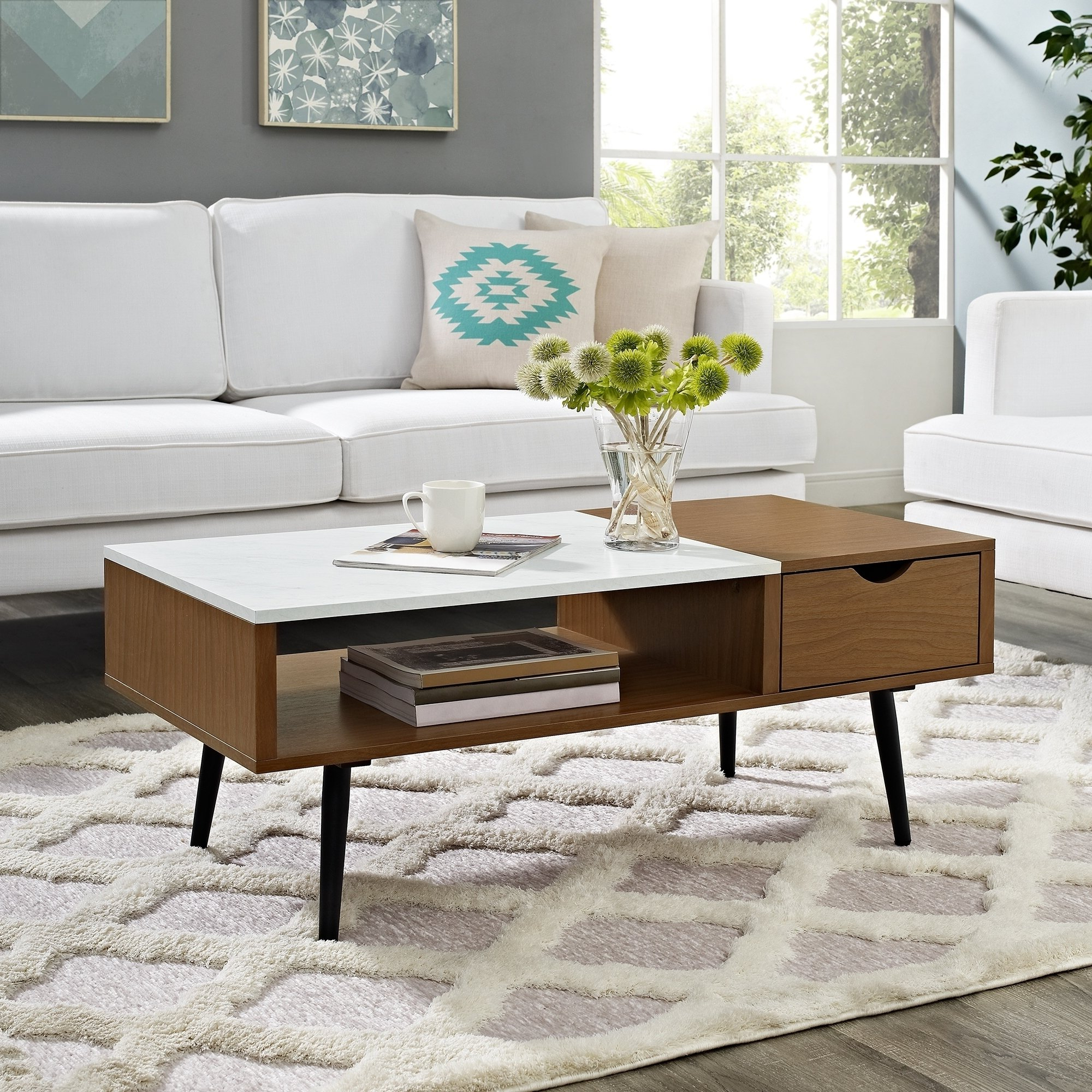Newest Shop Mid Century Modern 42 Inch Wood And Faux Marble Coffee Table Throughout Mid Century Modern Marble Coffee Tables (View 13 of 20)