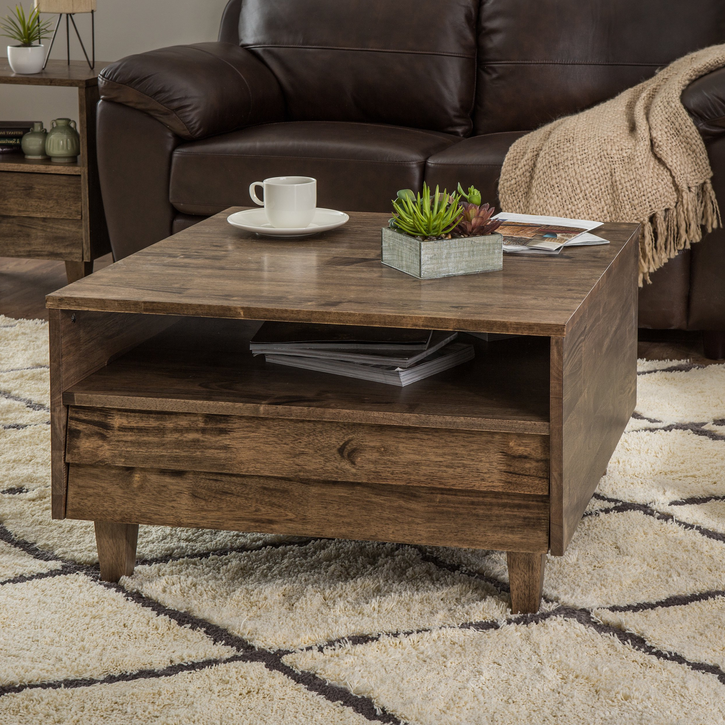 Newest Shop Stones & Stripes Venetian 2 Way 2 Drawer Brown/grey Coffee Throughout Walnut Finish 6 Drawer Coffee Tables (View 15 of 20)