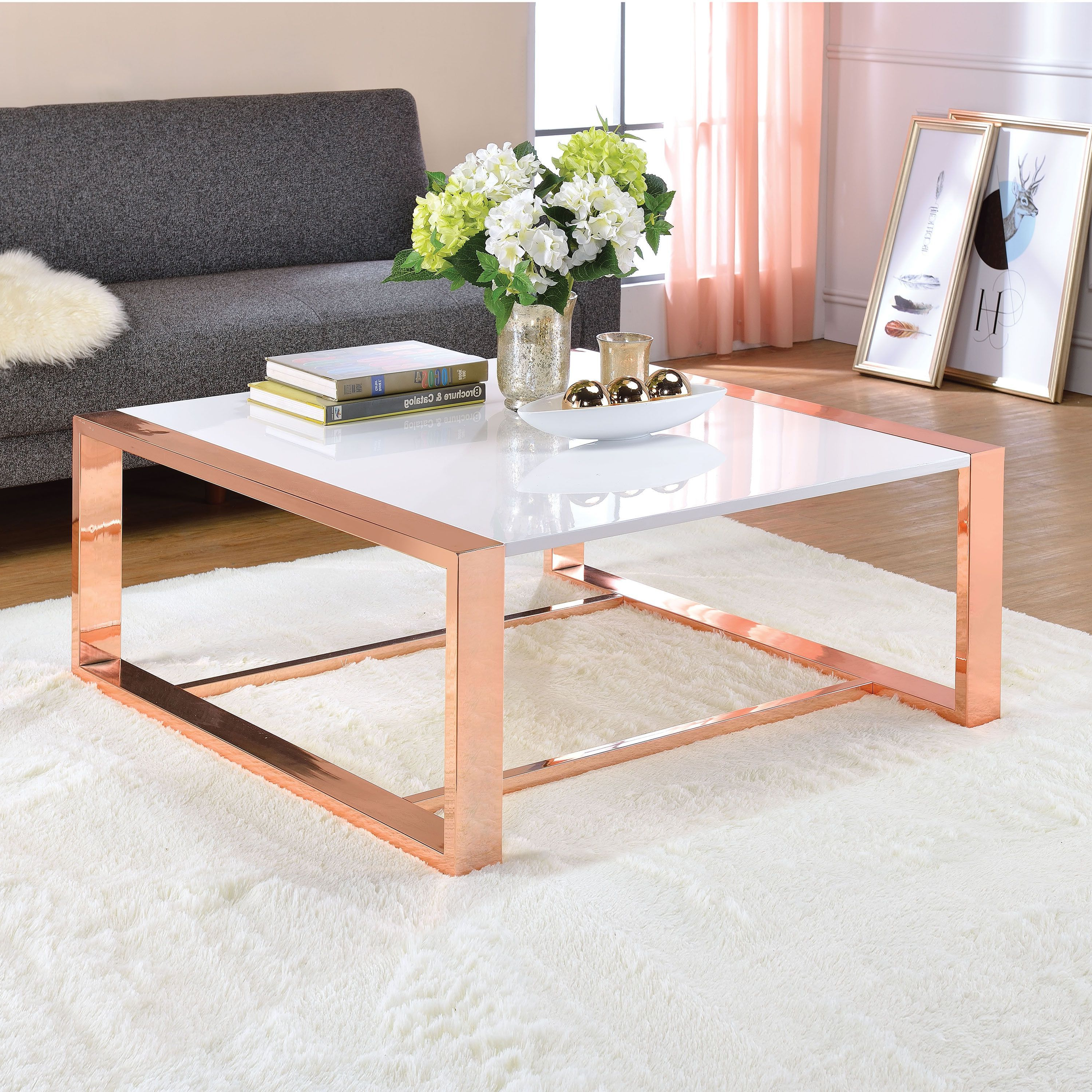 Newest Stack Hi Gloss Wood Coffee Tables In Acme Furniture Porviche White High Gloss And Rose Gold Coffee Table (View 2 of 20)