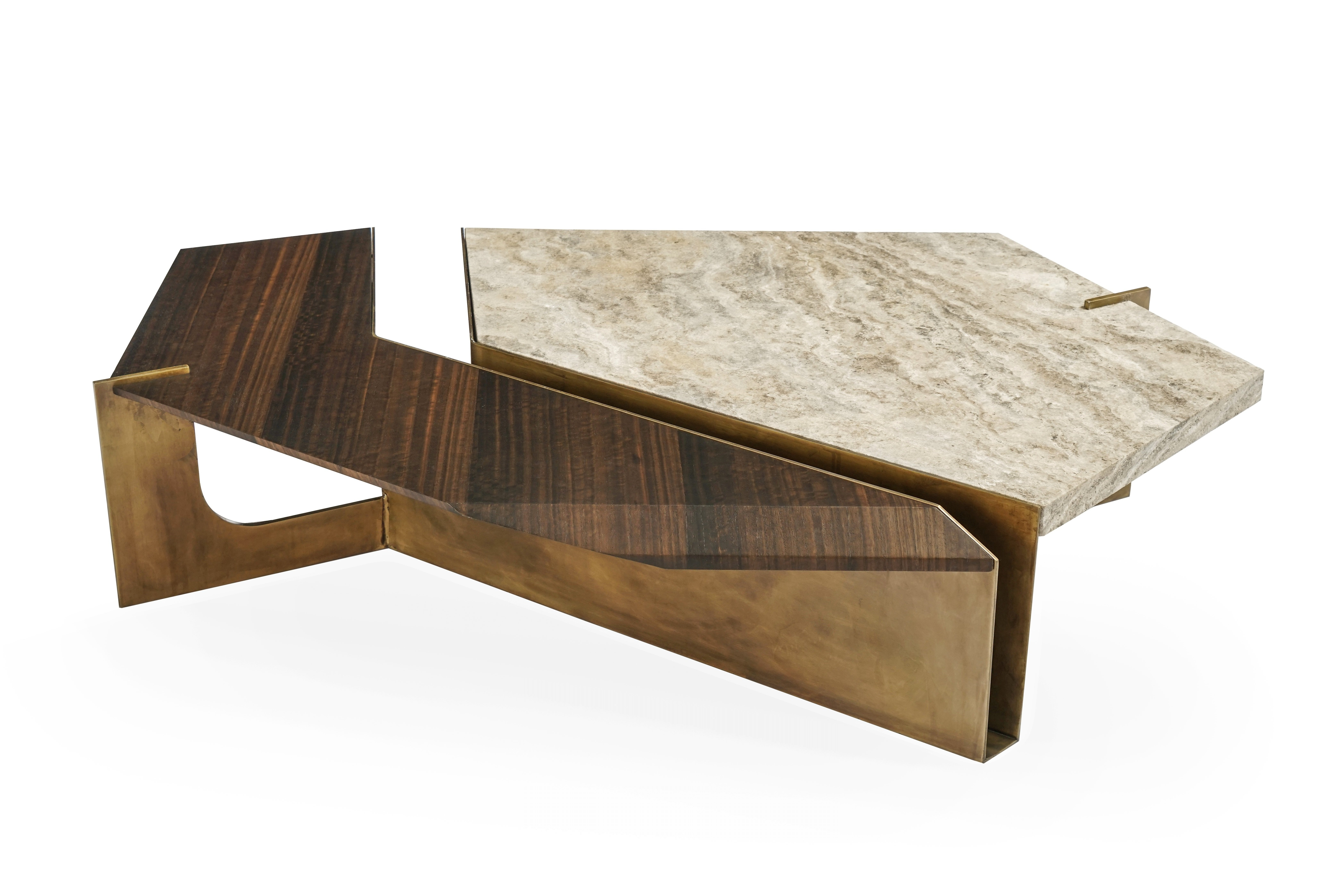 Newest Stratus Cocktail Tables With Regard To Stratus Coffee Table, Contemporary Centre Table In Aged Brass And (View 16 of 20)