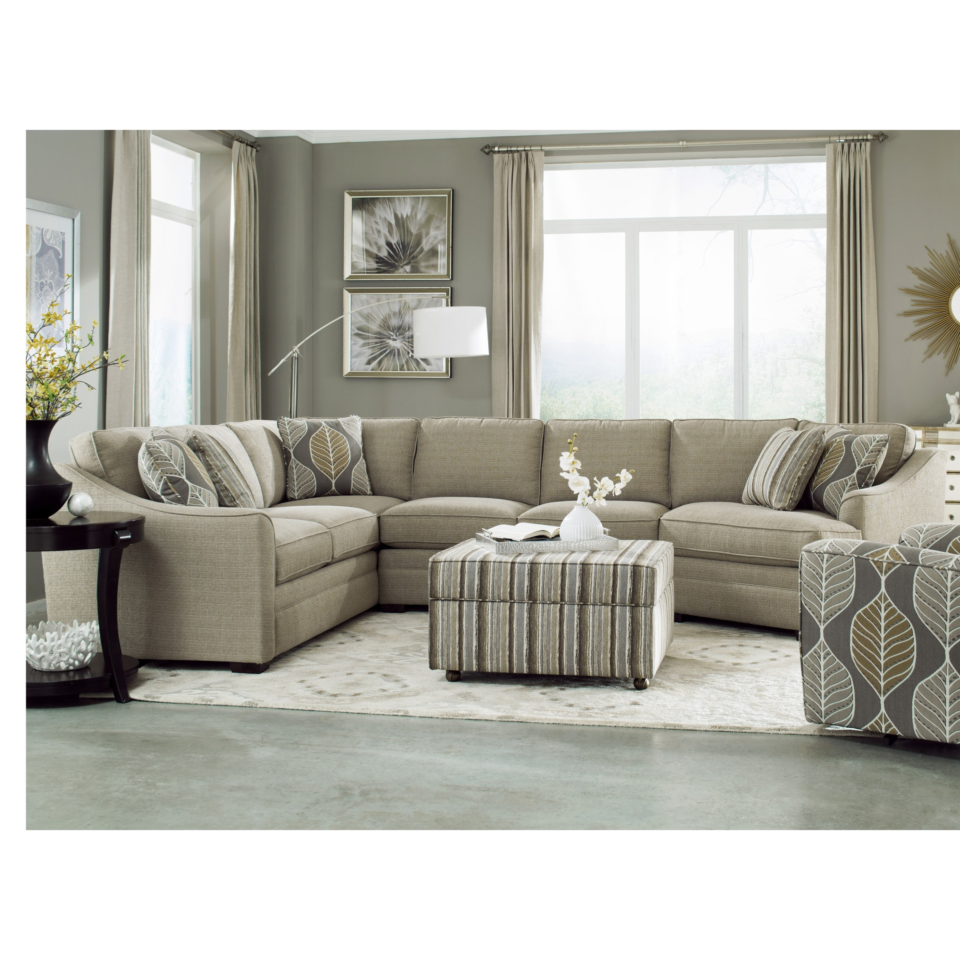 Newest Tatum Dark Grey 2 Piece Sectionals With Raf Chaise For Hickory Craft F9 Custom Collection <B>Customizable</b> 3 Piece (Gallery 17 of 20)