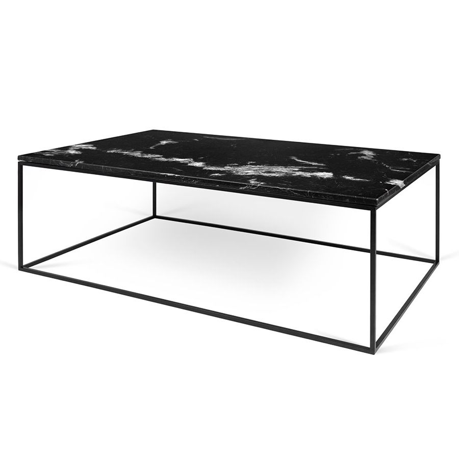 Newest Temahome Gleam Long Black Marble Modern Coffee Table (View 2 of 20)