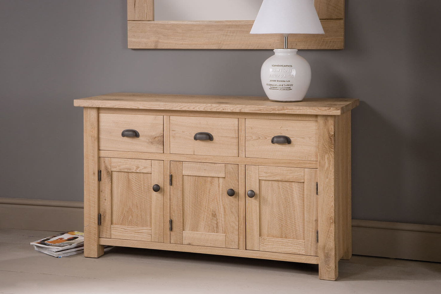 Newest Three Drawer Oak Sideboard, Handcraftedindigo Furniture Throughout Natural Oak Wood 78 Inch Sideboards (Gallery 20 of 20)