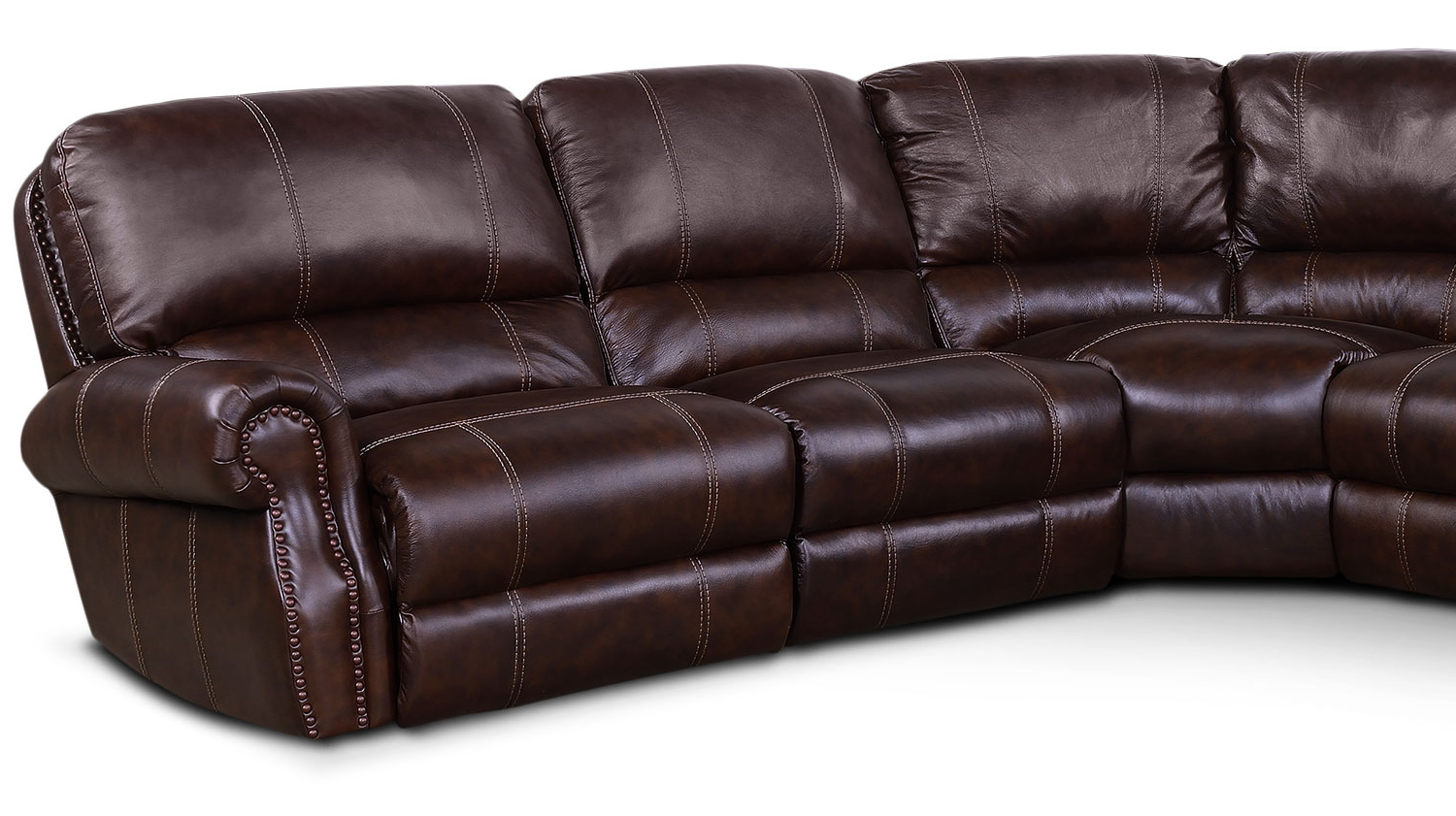 Norfolk Chocolate 3 Piece Sectionals With Raf Chaise For Well Known Dartmouth 6 Piece Power Reclining Sectional With 2 Reclining Seats (View 12 of 20)