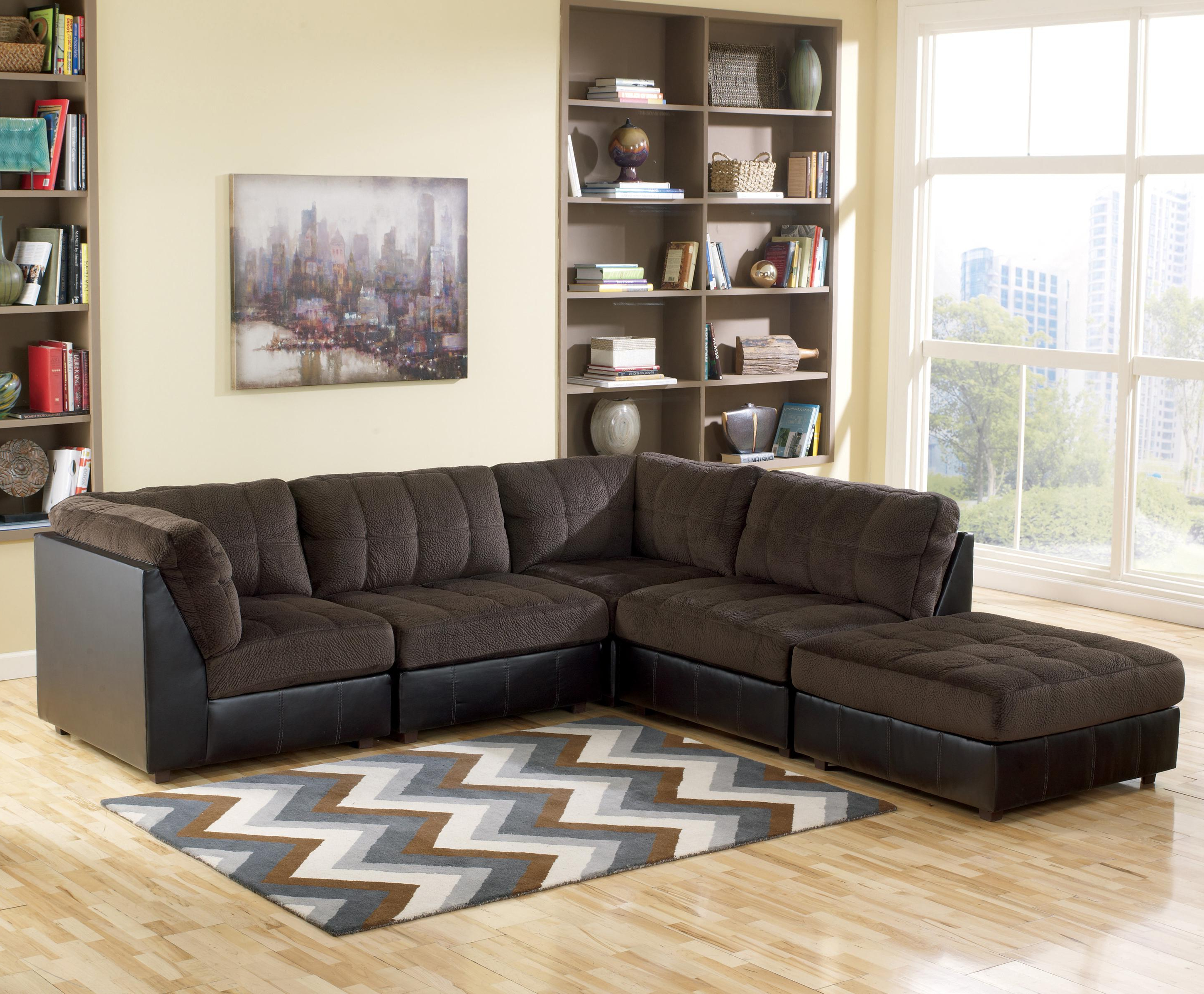 Norfolk Chocolate 3 Piece Sectionals With Raf Chaise Throughout Favorite Signature Designashley Hobokin – Chocolate Contemporary 5 Piece (View 16 of 20)
