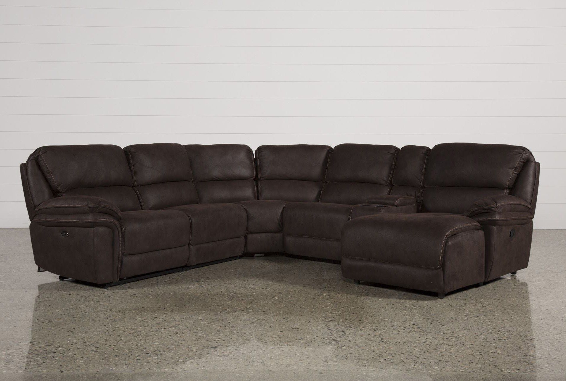 Norfolk Chocolate 6 Piece Sectional W/laf Chaise (View 4 of 20)