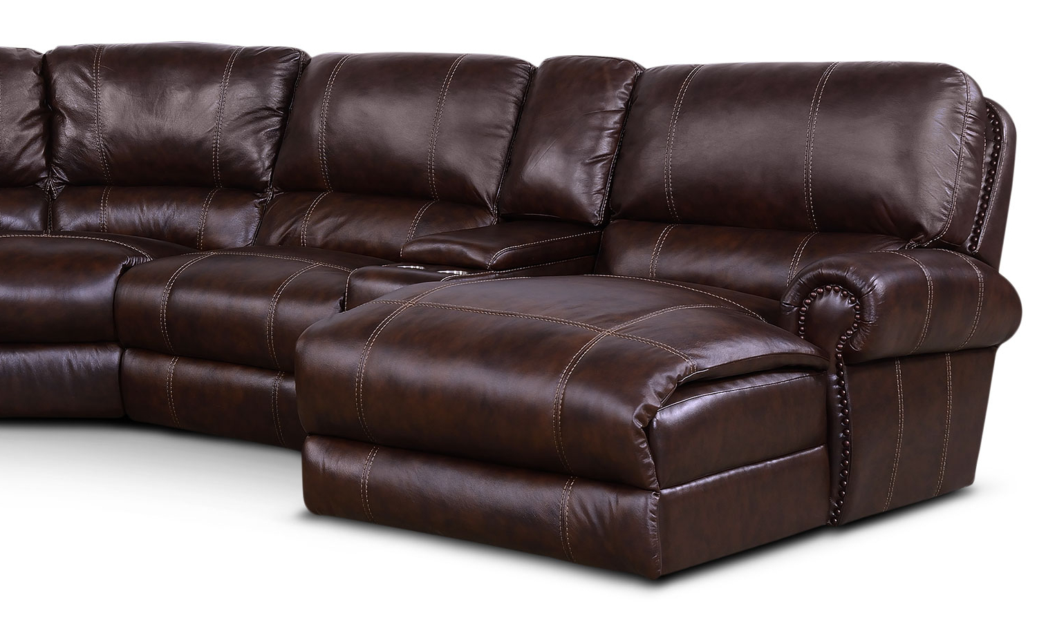 Norfolk Chocolate 6 Piece Sectionals With Raf Chaise For Widely Used Dartmouth 6 Piece Power Reclining Sectional With 2 Reclining Seats (View 14 of 20)