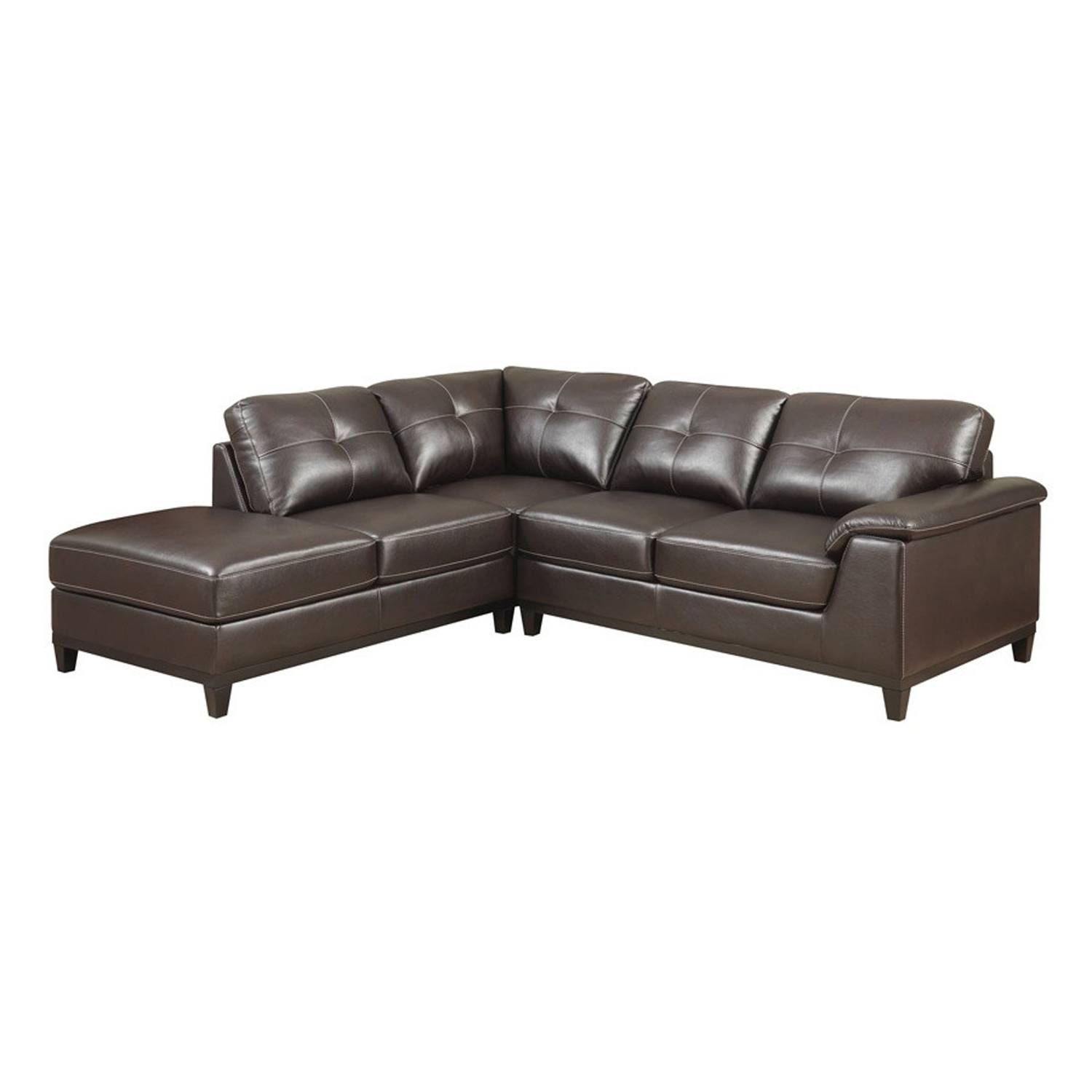 Norfolk Chocolate 6 Piece Sectionals With Raf Chaise With Most Current Emerald Home Furnishings Marquis 2 Piece Sectional W/5 Seats Walnut (Gallery 20 of 20)