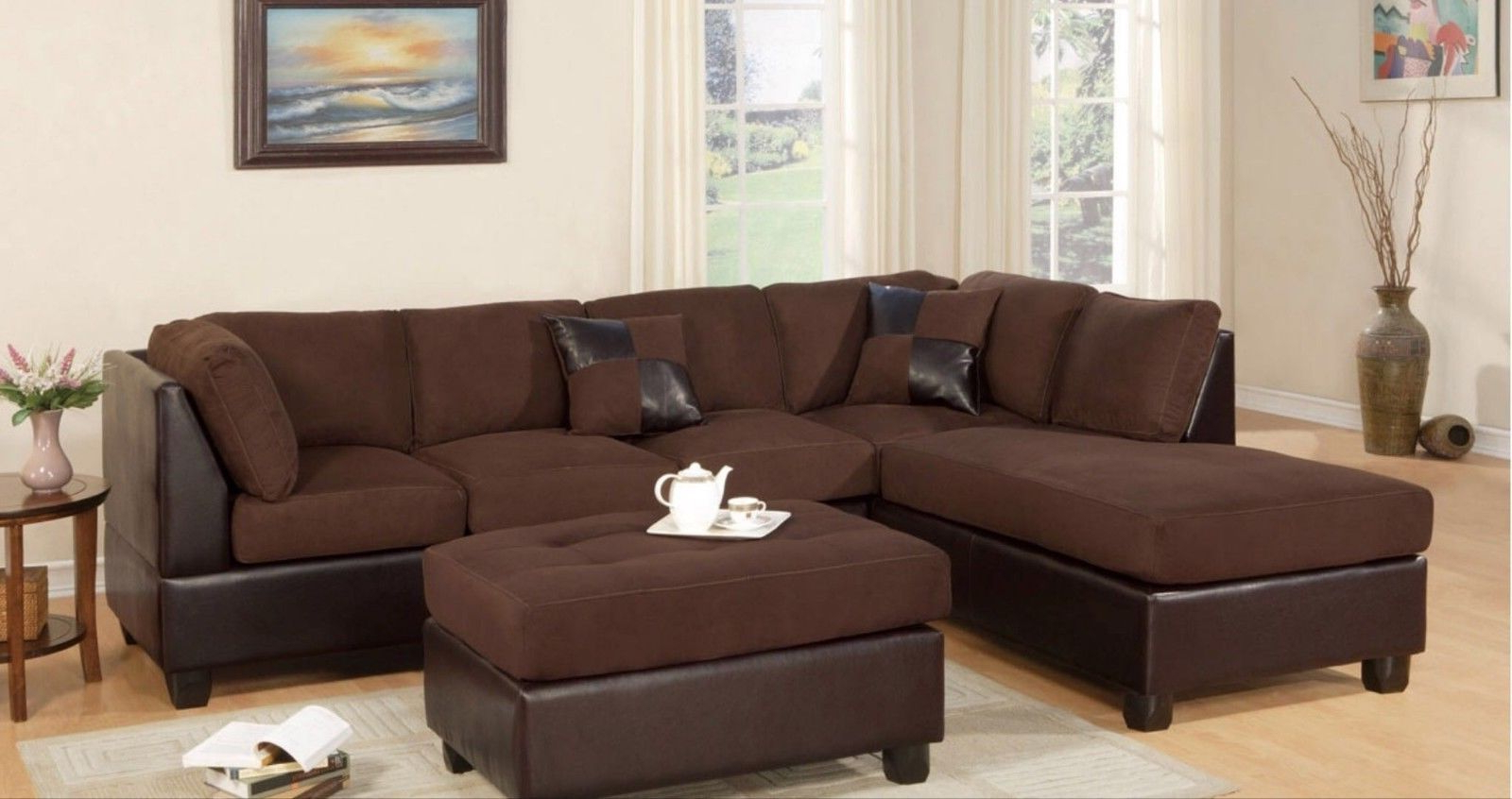Norfolk Chocolate 6 Piece Sectionals With Regard To 2019 Sectional Sofa Modern Fabric Microfiber Faux Leather Sectional Sofa (View 14 of 20)