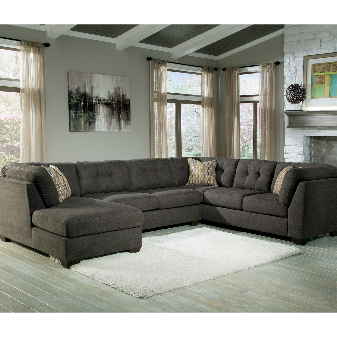 Norfolk Grey 6 Piece Sectionals With Laf Chaise With 2019 Benchcraft Delta City 3 Pc (View 16 of 20)