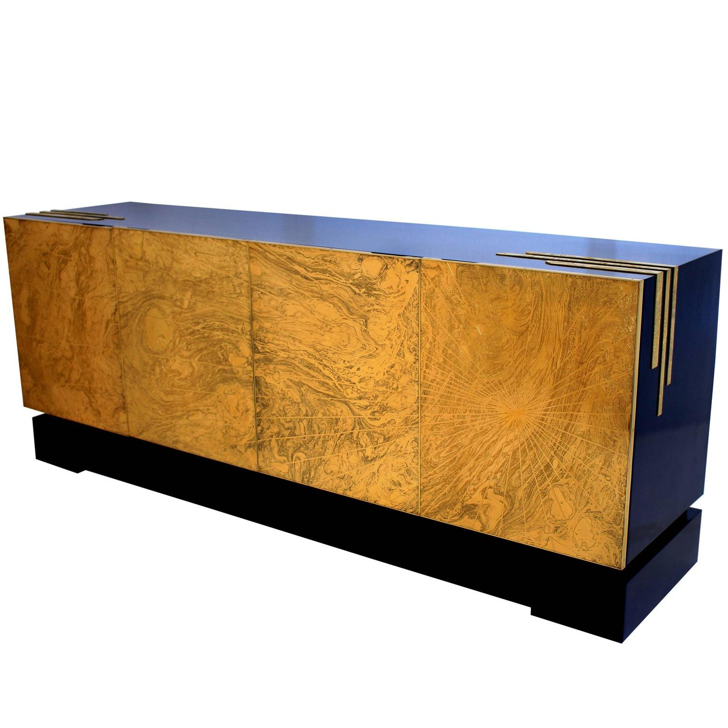 One Of A Kind Four Door Acid Etched Brass Sideboard Designfelix Intended For Well Known Square Brass 4 Door Sideboards (View 14 of 20)