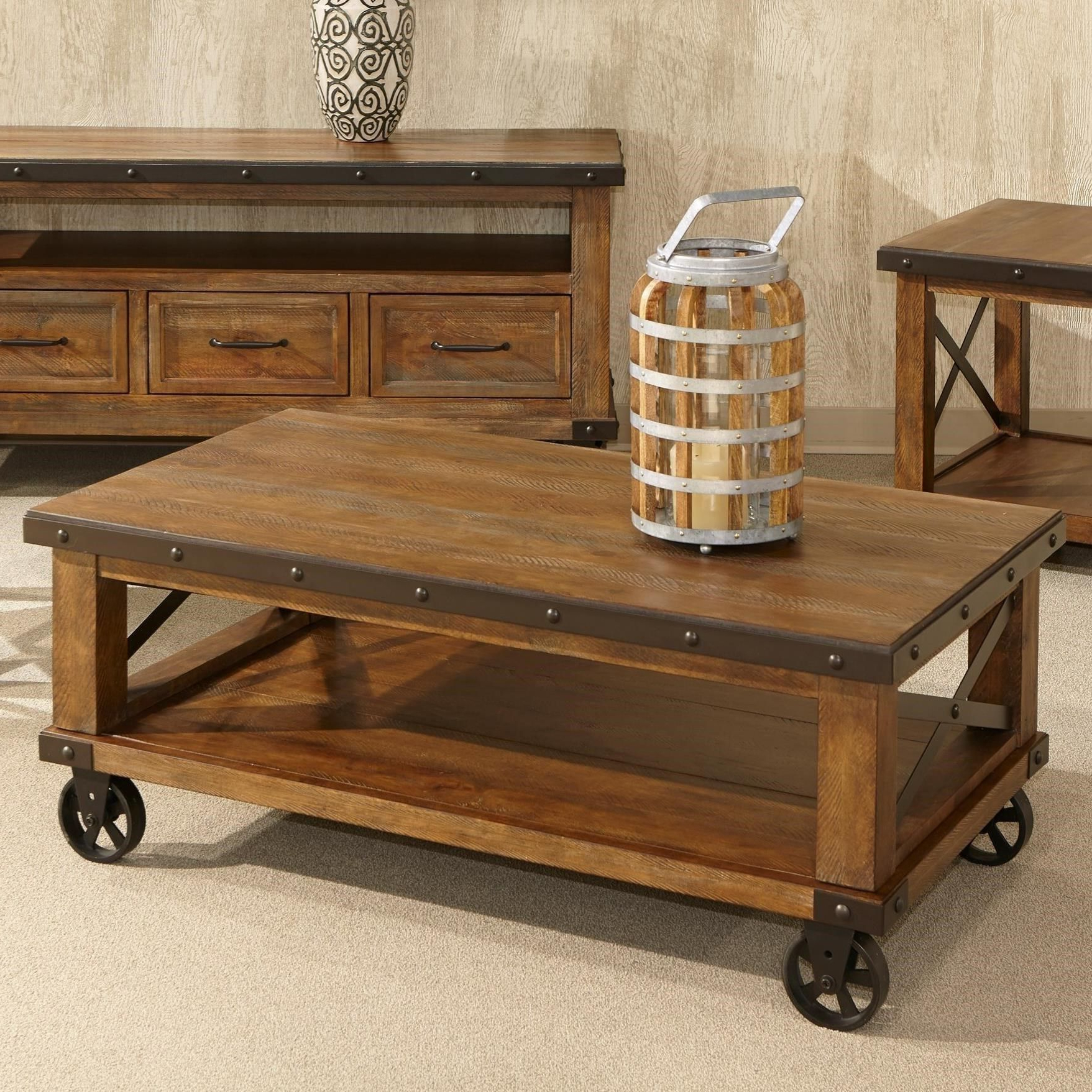 Ontario Cocktail Tables With Casters Throughout Popular Taos Rustic Coffee Table With Castersintercon In (View 9 of 20)