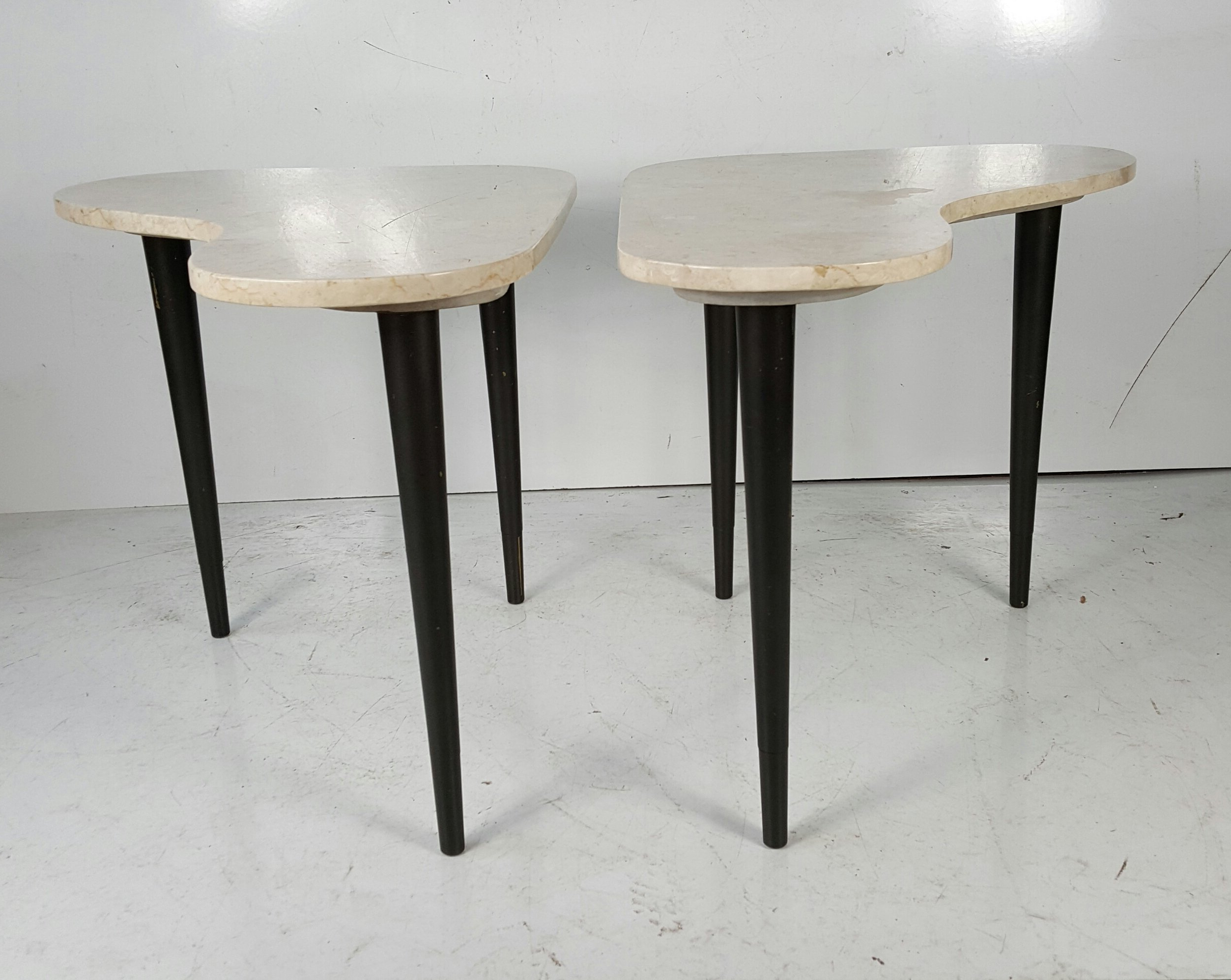 Pair Italian Modernist Marble Amoeba End Tables For Sale At 1Stdibs Within Well Known Intertwine Triangle Marble Coffee Tables (View 11 of 20)