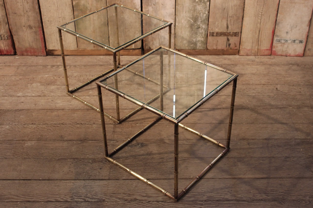 Pair Of 1950S Faux Bamboo Cube Brass Sofa Tables – Furniture For Famous Brass Iron Cube Tables (Gallery 17 of 20)