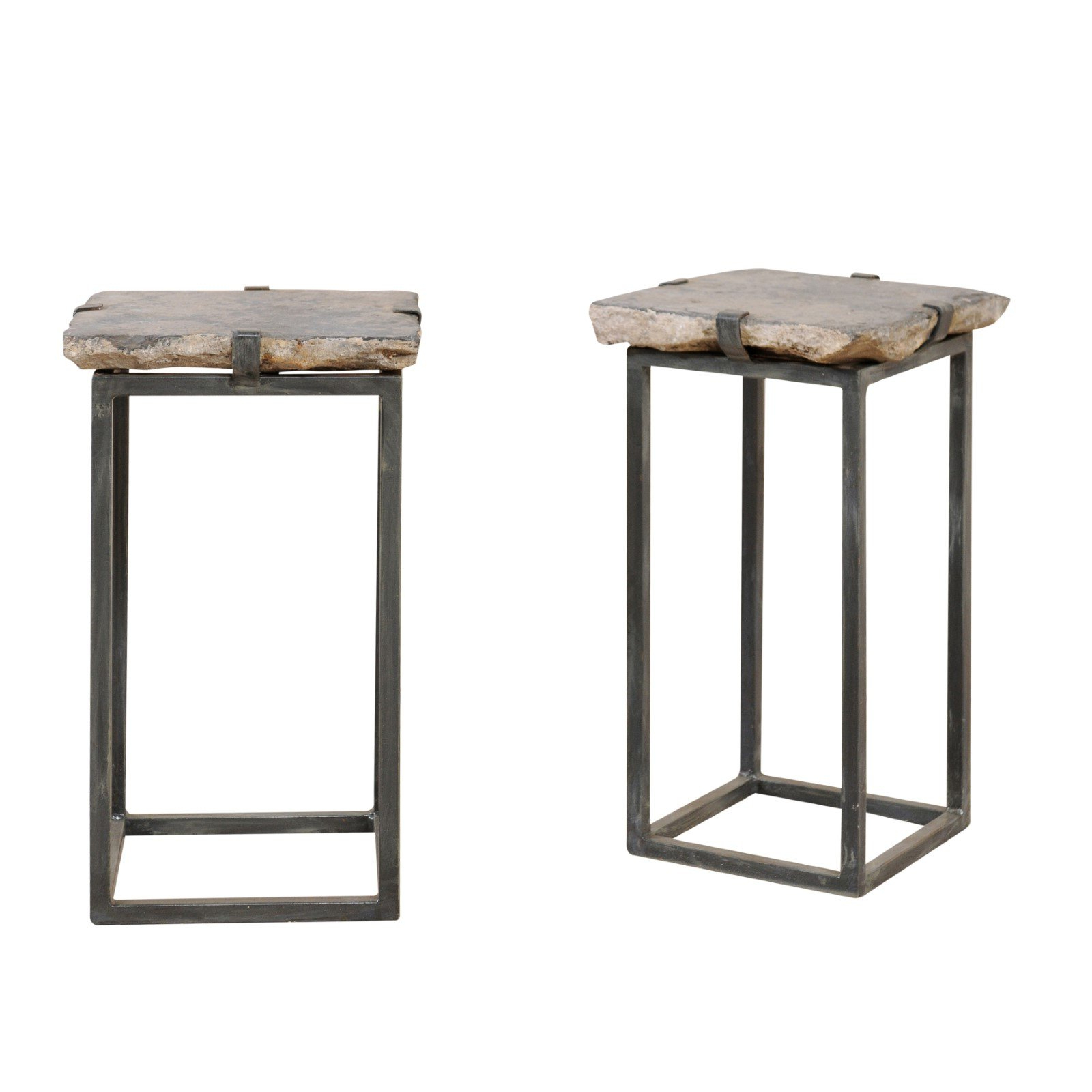 Pair Of Cute Sized European Stone Paver And Iron Drink Tables At 1Stdibs In Latest Aged Iron Cube Tables (View 13 of 20)