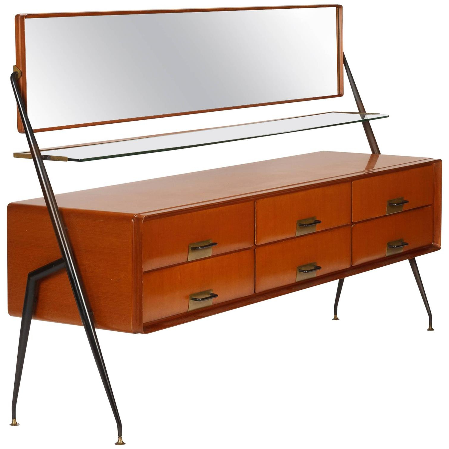 Pair Of Italian Modern Mahogany, Brass And Iron Sideboards, Silvio In Fashionable Iron Sideboards (View 20 of 20)