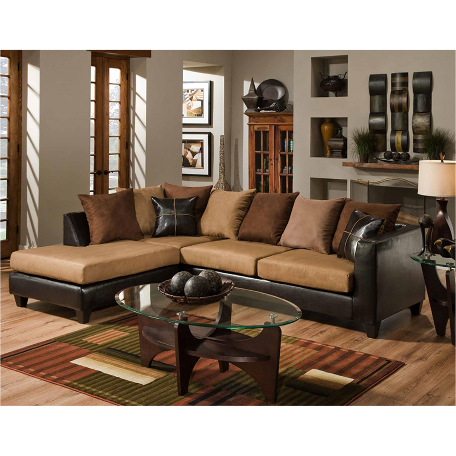 Parkside Sierra Chocolate Microfiber Sectional Rs 4184 01Sec Gg Regarding 2018 Sierra Foam Ii 3 Piece Sectionals (View 11 of 20)
