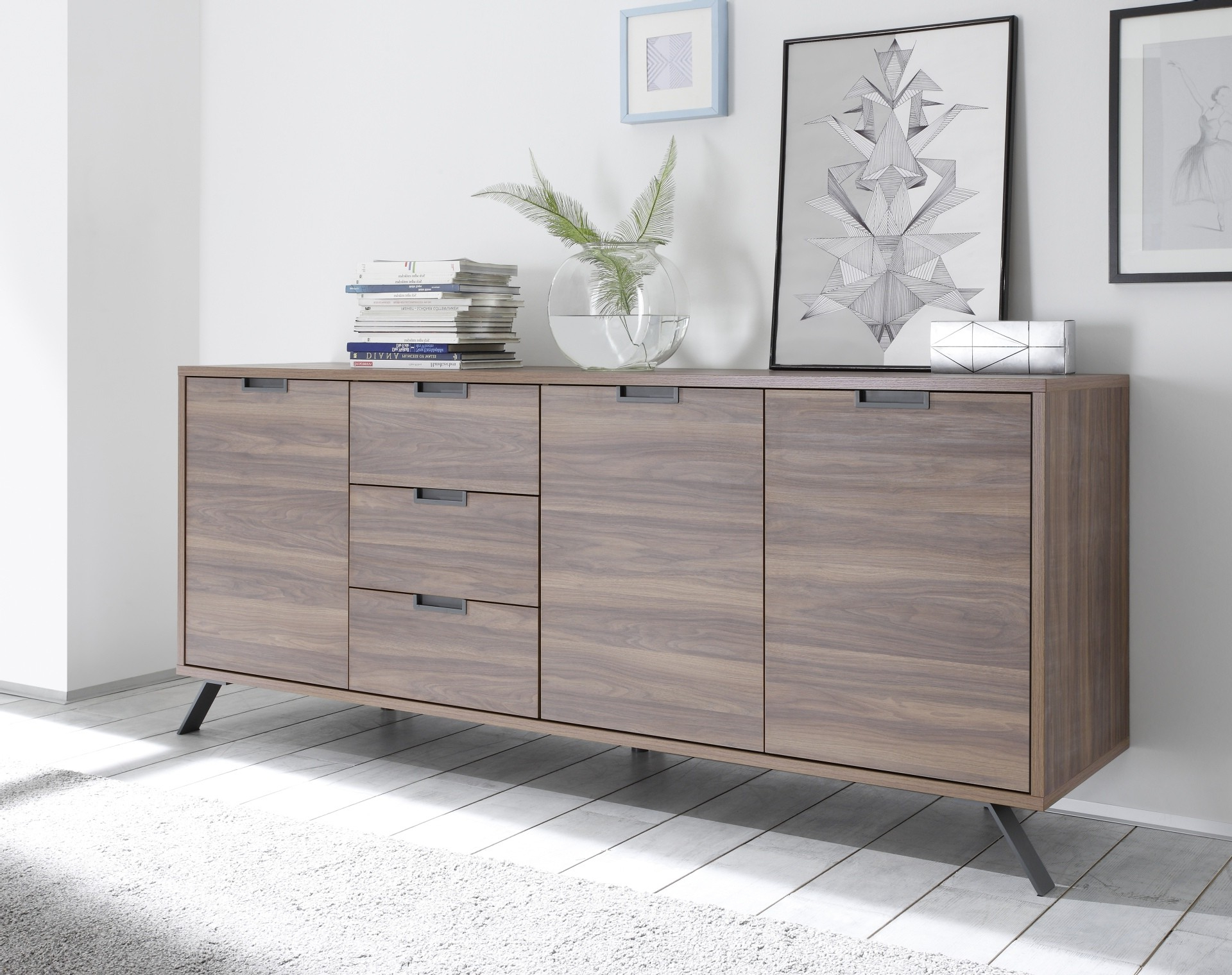 Parma Dark Walnut 3 Door Sideboard – Sideboards (1812) – Sena Home Intended For Most Popular Walnut Finish 4 Door Sideboards (View 11 of 20)